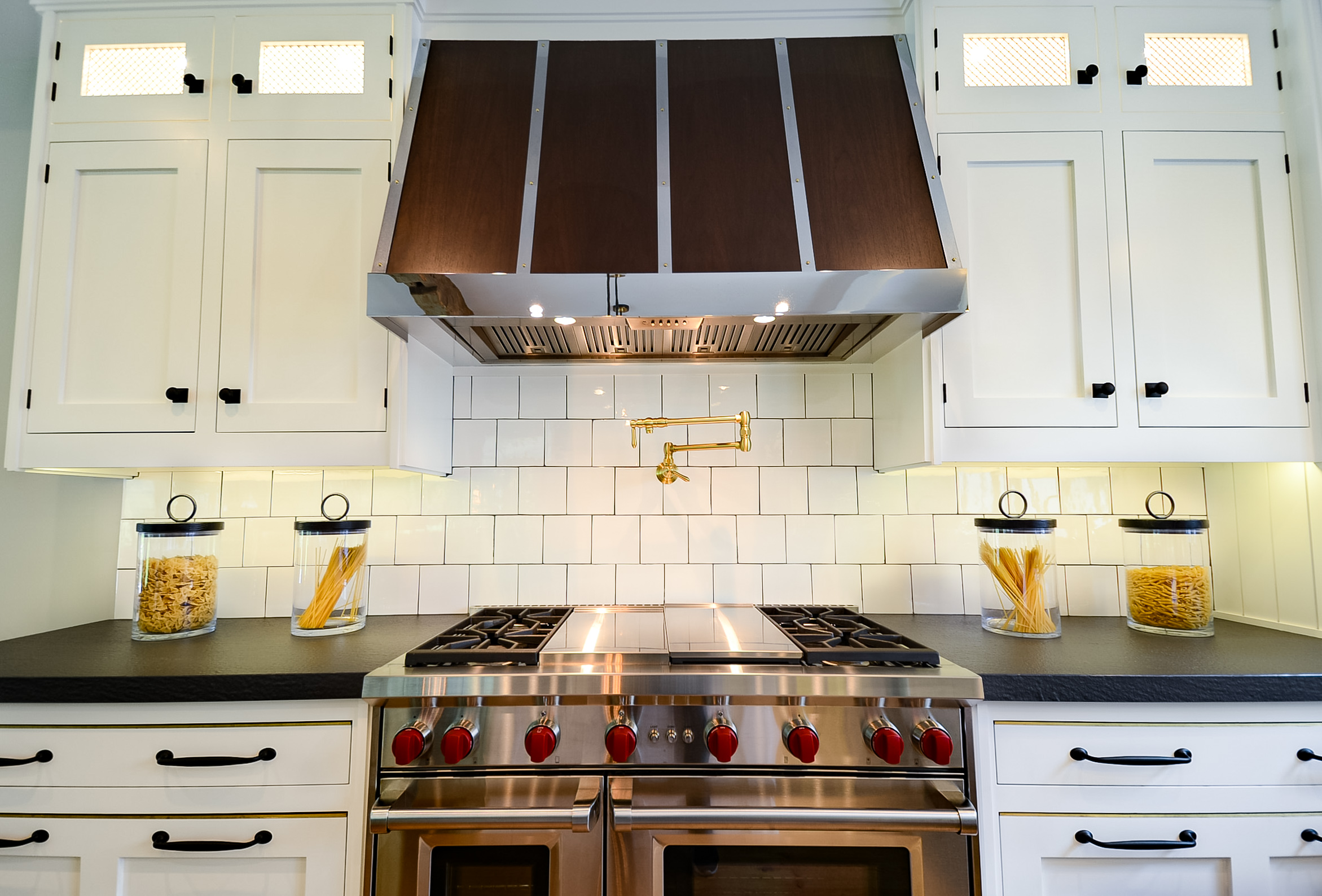 Cold Spring Harbor White Kitchen with a Wood Hood