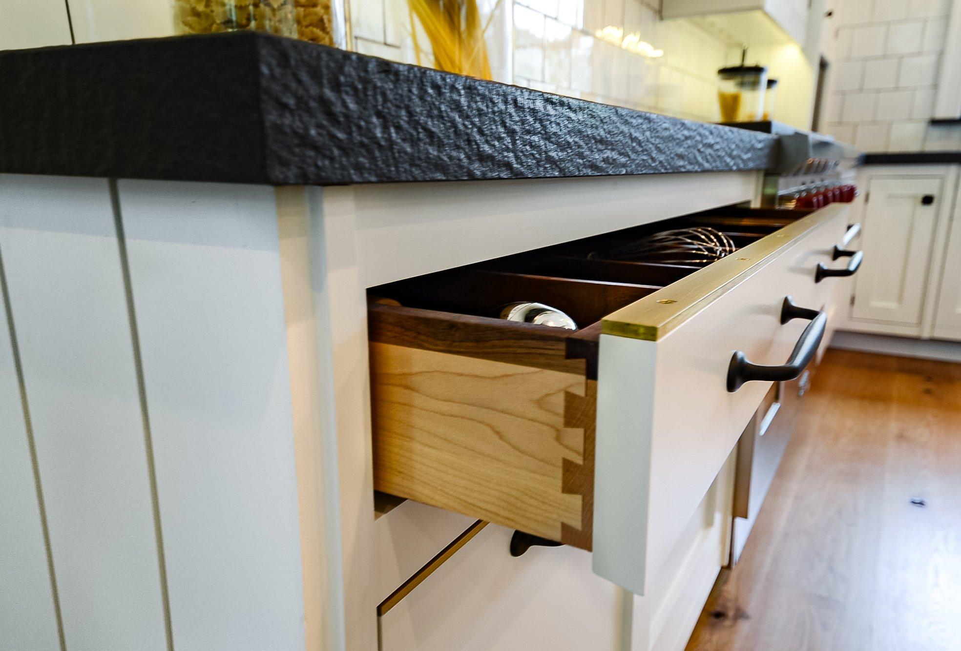 Custom Kitchen Drawer with Metal Brass accent